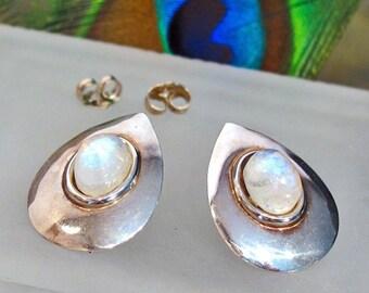 Earrings: Rainbow Moonstone Sterling Silver Posts ~ Teardrop Shield Earrings