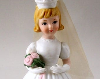 Here Comes the Bride Music Box Schmid Japan Collectible Vintage Porcelain Figurine Wedding Cake Topper