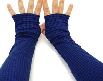 Arm Warmers in Cobalt Blue and Black - Fingerless Gloves - Sleeves