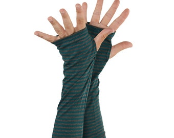 Arm Warmers in Teal and Grey Hurricane Stripes - Bamboo - Eco Friendly