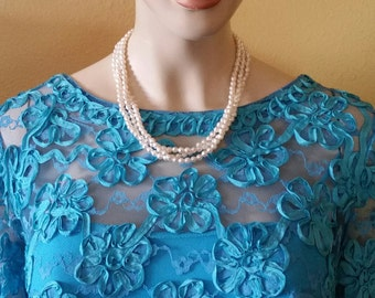 Vintage Necklace, Soft White, Faux Faceted, Small Pearls, Beaded, Multi Strand, Necklace