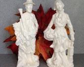 Slim Pilgrim Man and Woman with turkey Thanksgiving Figures  #slimPilg