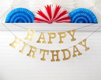 Glitter Happy Birthday Banner - 5 inch Letters - Happy Birthday Party Decoration Birthday Garland Party Banner Glitter Birthday Decor Sign