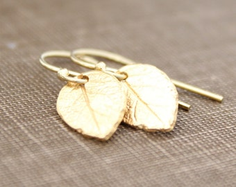 Gold Leaf Earrings, Simple Gold Earrings, Tiny Leaf Earrings, Gift For Her, Nature Lovers, Gold Jewelry, Bridesmaids Gift, 14k Gold Earrings