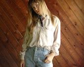 Vtg Cream SILK Pocket Blouse Shirt - 90s - MEDIUM