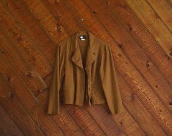 Slinky Brown Slouchy Crop Blazer Jacket - Vintage 90s - S M
