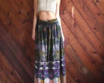 Ethnic Floral Printed Brushed Velvet Maxi Skirt - Vintage 60s 70s - S M