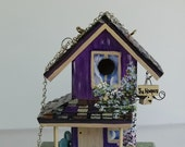Reserved for Irene , Lavender Birdhouse with Lots of Extras