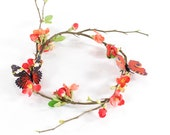 Fairy Woodland Crown Handmade Blossom Butterfly Wedding Costume Headpiece