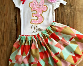 Minnie Mouse Birthday Skirt Set - Minnie Mouse Dress -  Minnie Mouse Outfit - Birthday Skirt Set