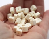 Vintage Cream Tan Ivory Matte Square Spacer Beads 8mm (20)