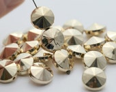 Gold Acrylic Beads Faceted Round Coin Pillow 12mm (20)