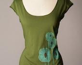 womens shirt, scoop neck shirt, olive green tshirt, cap sleeves