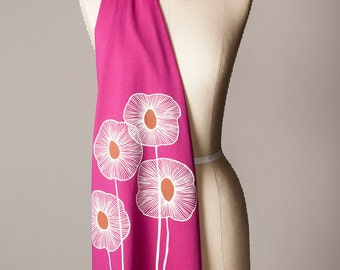 magenta scarf, hot pink scarf, jersey scarf, long soft scarf