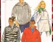 PLUS SIZE Fleece Pullover Sewing Pattern S-XXL Unisex Jacket Hooded Unhooded New Look 6572