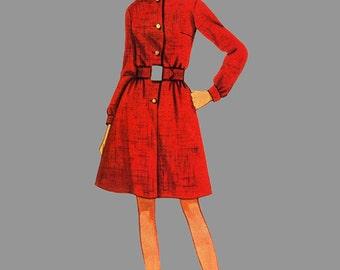 1960s Shirtwaist dress sewing Pattern Butterick 4931 front buttons, Round neck dress, Collar, Long sleeve dress Size 12 bust 34 inches
