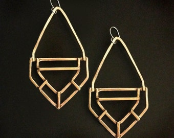 Geometric Drop Earrings - Bronze - Handmade Jewelry - art deco revival - jewelry made in Austin, Tx