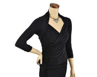 Eco-Friendly Bamboo Shrug Bolero - Black 3/4 Sleeve