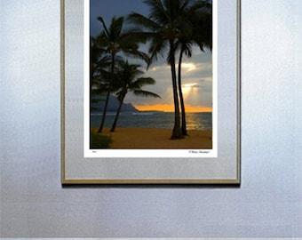kauai surf decor hawaiian decor hawaiian art surf board surf art Hanalei Bay Sunset Fine Art Photo Kauai Hawaii By Michael Verlangieri