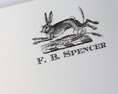 Bunny Rabbit Personalized Notepad Easter Bunny Monogrammed Hare Woodland Forest Preppy Note Pad Vintage Inspired Mountain Cabin Hostess Gift