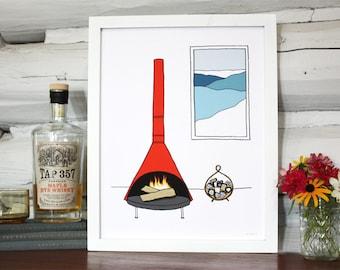 A mod fireplace scene, illustrated art print