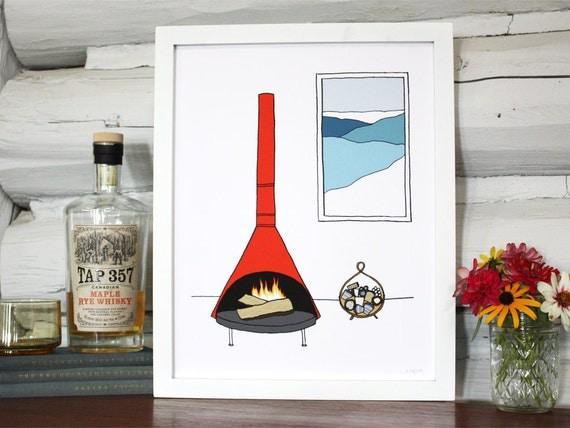 A mod fireplace scene