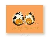 Halloween Cat Card - Happy Halloween - Pumpkin Cats