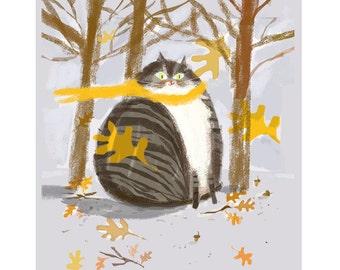 Autumn Leafs - Cat Print - Cat Painting - Wall Art - Cat Lover