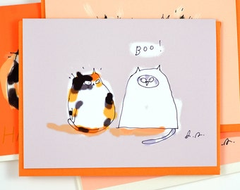 Boo - Funny Halloween Cat Card - Cat Lover - Cat Costume