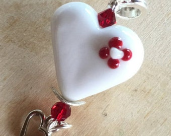 White Heart with a Red Flower Pendant
