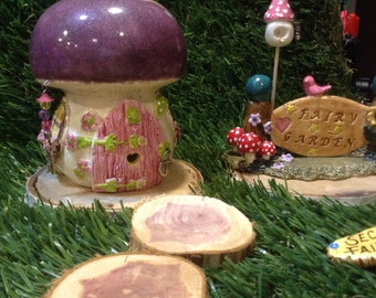 Ceramic MUSHROOM House  TOAD House  Ceramic Fairy Home   Hand Built OOAK Glazed  Gnome garden decor Glitter Glazed Purple Roof