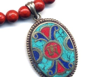 Nepal OM Necklace,Tibet Jewelry, Turquoise , Lapis and Coral Om Tibetan Pendant, Om Coral  Tibet Necklace, Nepal Jewelry by AnnaArt72