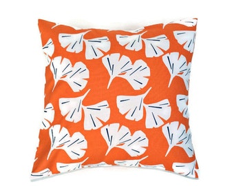 Orange Leaf Throw Pillow Cover, Premier Prints Monarch Gingko, Blossoms, Leaves, Floral -  Choose Size, 16 x 16, 18 x 18, 20 x 20