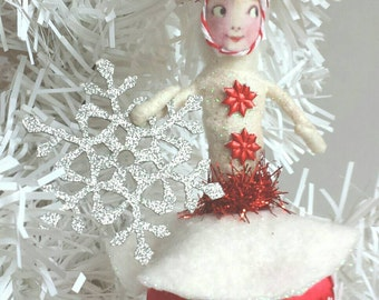 SALE Spun Cotton Ornament Red Snowflake Girl