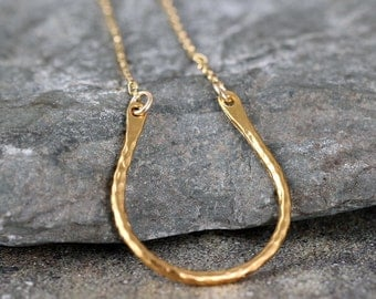 Lucky Horseshoe Pendant - Layering Necklace - 14K Gold Filled and Vermeil - Hammered Texture - Horseshoe Necklace - Good Luck Charm
