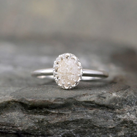 Raw Diamond Ring - Crown Style Setting - Sterling Silver ...