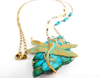 Turquoise Dragonfly Necklace, Brass, Citrine, Rustic Jewelry, Pendant Necklace, Stone Necklace