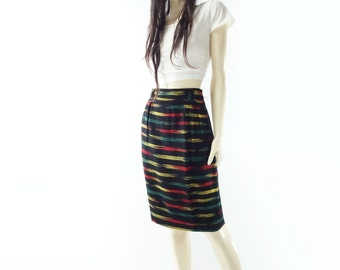 sale Vintage Pencil Skirt, 1980s Tribal Skirt, 80s Vintage Skirt, Black Pencil Skirt, South Western, Navajo Boho Skirt, Red, Emerald, small