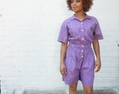 Jumpsuit 1980s Vintage Purple Short Romper