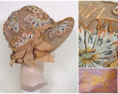 RESERVED 1920s Vintage Wide Brim Straw Cloche with Painted Flowers and Chenille Work SZ 22.75