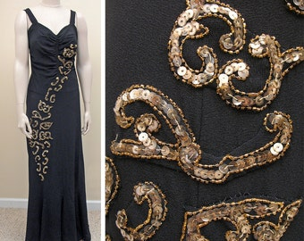 Vintage Late 1930s Black Crepe Evening Dress with Gold Sequins SZ M