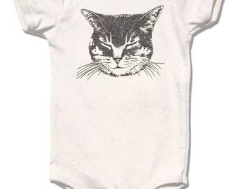 Organic Baby Clothes, Cat One Piece bodysuit, sleeping kitty design sparkle silver glitter ink organic cotton baby girl baby boy unisex gift