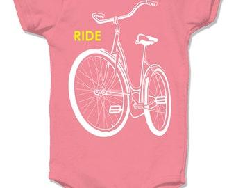 Organic Baby One Piece, Organic Bike Onesie, Coral infant bodysuit baby toddler, papaya  old school schwinn bicycle cycle shirt rad biking