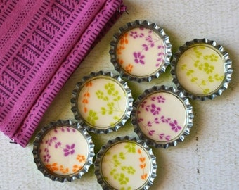 Strong Bottlecap Magnets- Flower Magnets- Orange, Purple and Green Flowers- Made from Upcycled Paper- Gift Bag Included