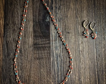Coral and Turquoise Two Strand necklace