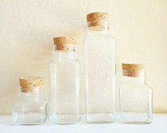 Set of Glass Jars with Cork Lids Bottles 4 Four Different Sizes