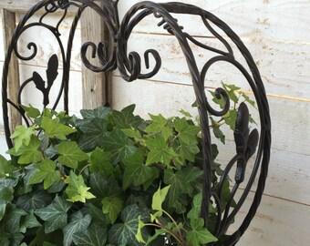 Iron Planter, Hanging Planter,  Heart Home Decor, Romance Gift, Rustic Garden, Heart Planter, Turquoise