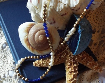 Blue Gold White Necklace Freshwater Pearls Cobalt Aventurine Vintage Clay Beads