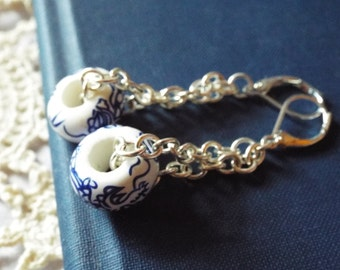 Chinoiserie Earrings Asian Blue and White Dragon Motif on Bright Silver French Hooks