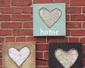 Home is where the Heart is.  Map HOME hand painted signs CUSTOM MADE to order!